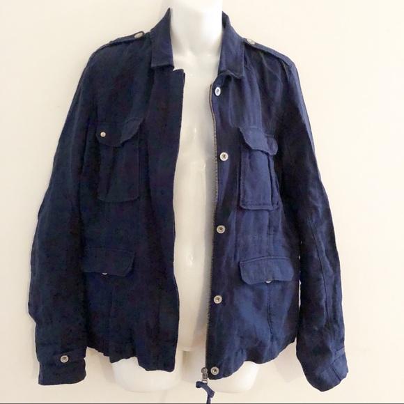 Michael Stars Navy Blue Linen military jacket. M 5b6b40dc7ee9e27bf7a70360 39166330274